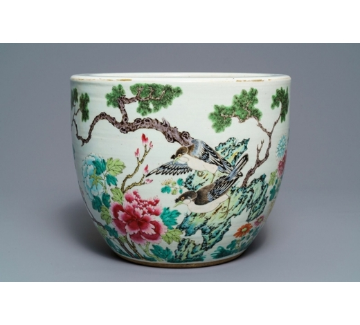 Rob Michiels AuctionsA Chinese famille rose jardinière with birds among flowers, 19th C.