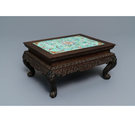 Rob Michiels AuctionsA Chinese carved wooden stand with famille rose plaque, 19th C.