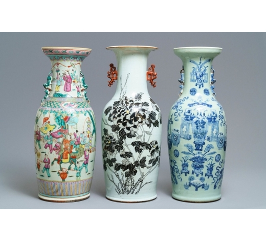 Rob Michiels AuctionsThree Chinese blue and white, famille rose and qianjiang cai vases, 19th C.