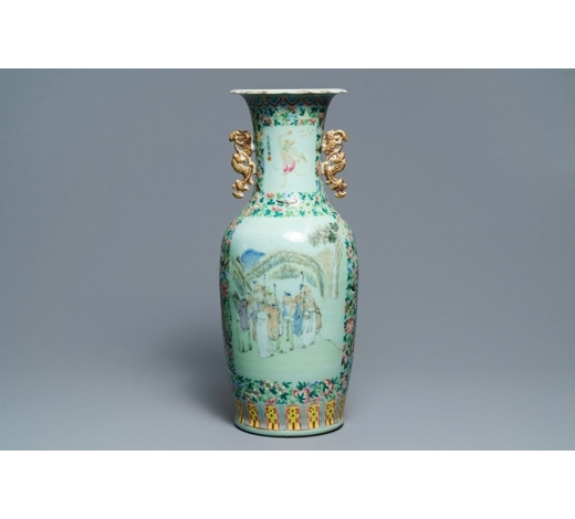 Rob Michiels AuctionsA Chinese celadon-ground qianjiang cai and famille rose vase, 19th C.