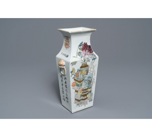 Rob Michiels AuctionsA rectangular Chinese qianjiang cai vase, 19/20th C.