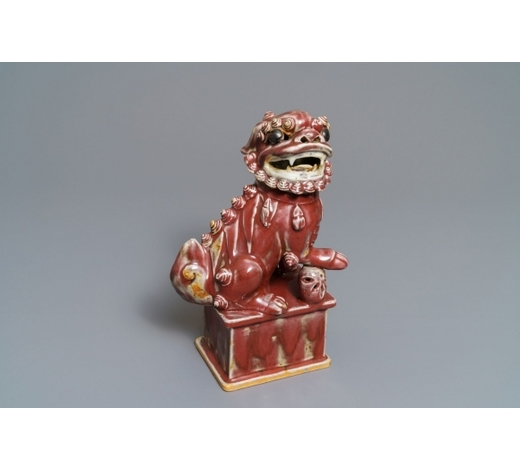 Rob Michiels AuctionsA Chinese sang de boeuf model of a Buddhist lion, 19th C.