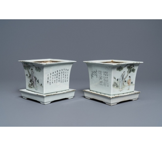 Rob Michiels AuctionsA pair of square Chinese qianjiang cai jardinières on stands, 19/20th C.