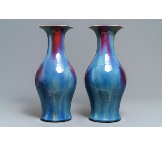 Rob Michiels AuctionsA pair of Chinese flambé-glazed vases, 19th C.