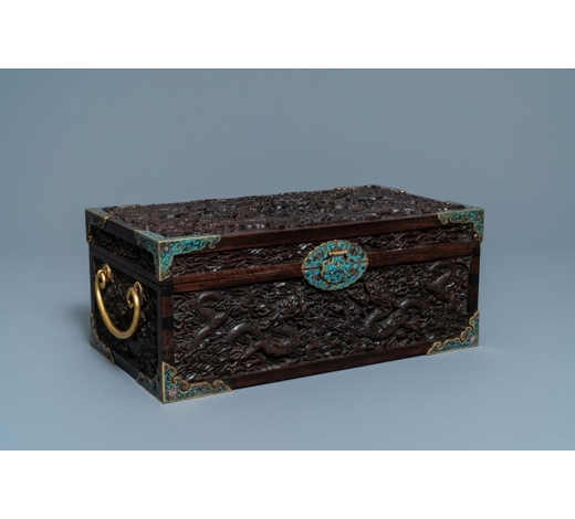 Rob Michiels AuctionsA Chinese cloisonné-mounted carved zitan wood and gilt bronze-handled box, Qing