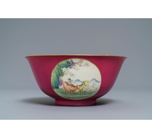 Rob Michiels AuctionsA Chinese pink-ground medallion bowl, Guangxu mark and of the period
