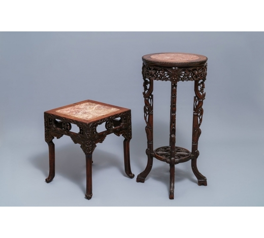 Rob Michiels AuctionsTwo Chinese carved wooden stands with marble tops, 19/20th C.