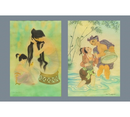 Rob Michiels AuctionsMai Long (Vietnam, 1931): 'Mother and child' and 'Fishing on the river', ink and color on silk
