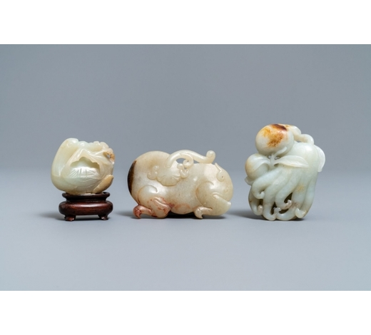 Rob Michiels AuctionsThree Chinese jade carvings, 19/20th C.
