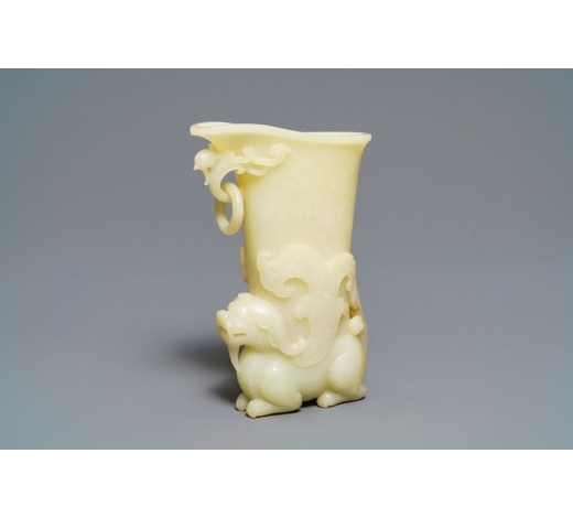 Rob Michiels AuctionsA Chinese yellow jade rhyton cup, 19/20th C.