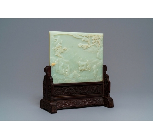 Rob Michiels AuctionsA Chinese carved pale celadon jade and hardwood table screen, 19/20th C.
