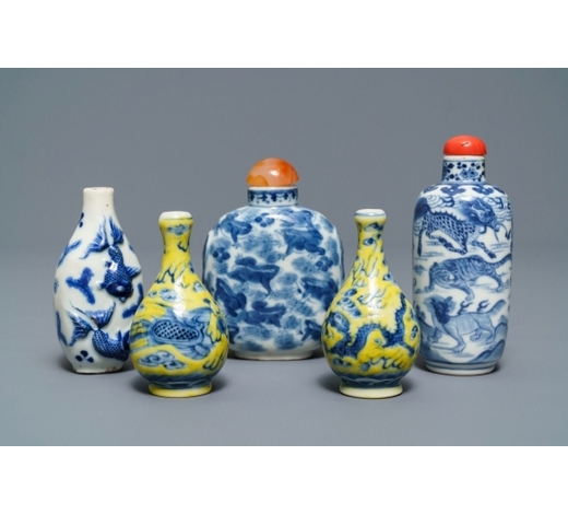 Rob Michiels AuctionsFive Chinese blue, white and yellow-ground porcelain snuff bottles, 19/20th C.