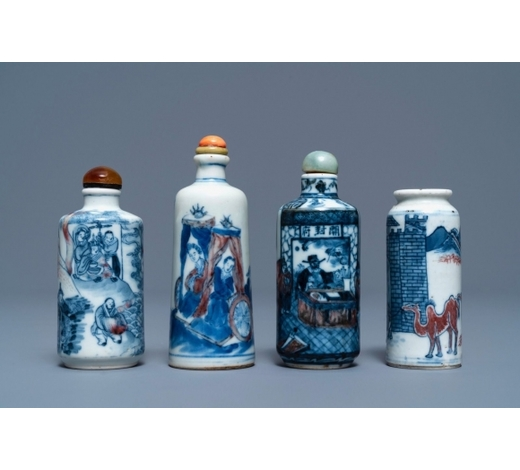 Rob Michiels AuctionsFour Chinese blue, white and underglaze red snuff bottles, 18/19th C.