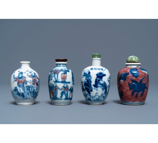 Rob Michiels AuctionsFour Chinese blue, white and underglaze red snuff bottles, 19/20th C.