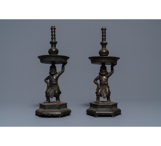 Rob Michiels AuctionsA pair of Chinese bronze candlesticks, Ming