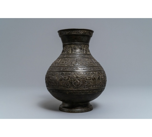 Rob Michiels AuctionsA Chinese archaistic bronze vase, 'hu', Ming