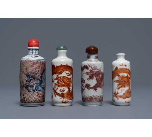 Rob Michiels AuctionsFour Chinese iron- and copper-red porcelain 'dragon' snuff bottles, 19/20th C.