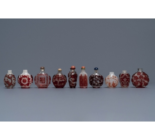 Rob Michiels AuctionsTen Chinese red overlay, snowflake and transparent glass snuff bottles, 18/20th C.