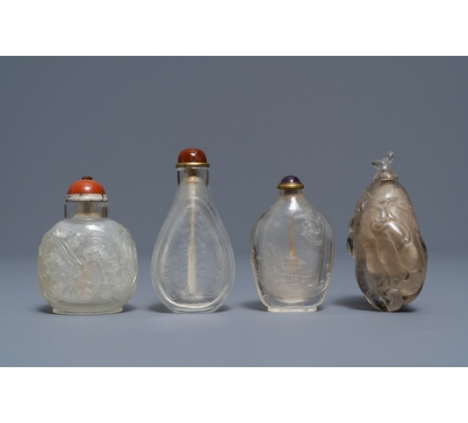 Rob Michiels AuctionsFour Chinese smokey quartz and rock crystal snuff bottles, 18/19th C.