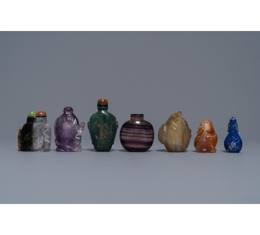 Rob Michiels AuctionsSeven Chinese hardstone, agate and quartz snuff bottles, 19/20th C.