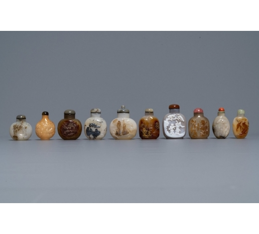 Rob Michiels AuctionsTen Chinese carved agate snuff bottles, 19/20th C.