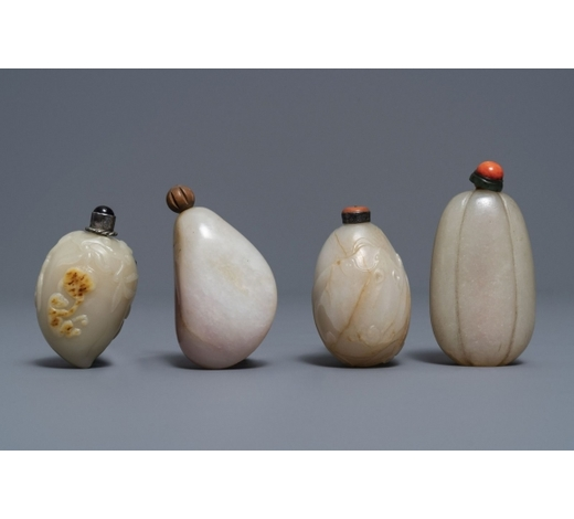 Rob Michiels AuctionsFour Chinese russet jade snuff bottles, 19/20th C.