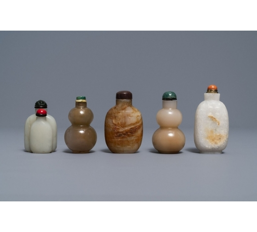 Rob Michiels AuctionsFive Chinese celadon and russet jade snuff bottles, 19/20th C.