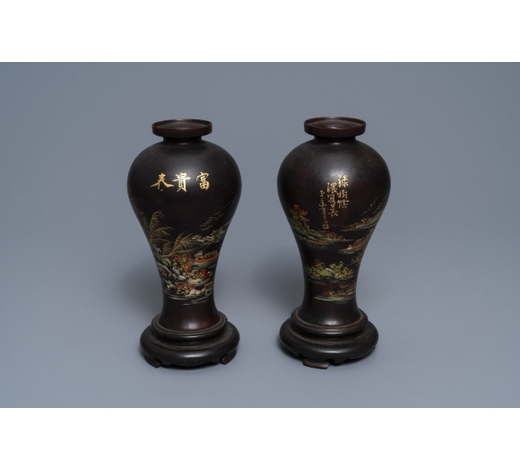 Rob Michiels AuctionsA pair of Chinese lacquerware vases with landscape design, Fujian, Republic, 20th C.