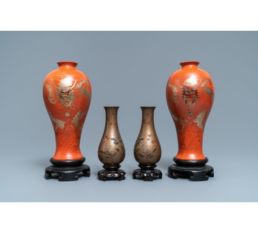 Rob Michiels AuctionsTwo pairs of Chinese lacquerware vases, Fujian, Republic, 20th C.