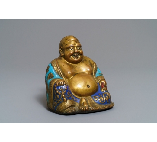 Rob Michiels AuctionsA Chinese champlevé enamelled copper figure of Buddha, Qianlong