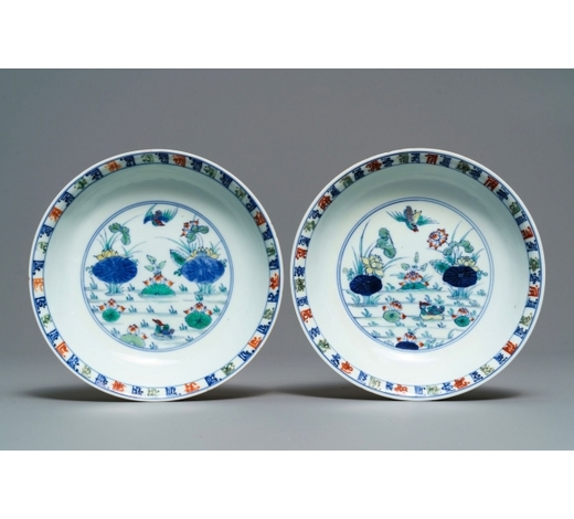 Rob Michiels AuctionsA pair of Chinese doucai 'ducks and lotus pond' plates, Chenghua mark, 18th C.