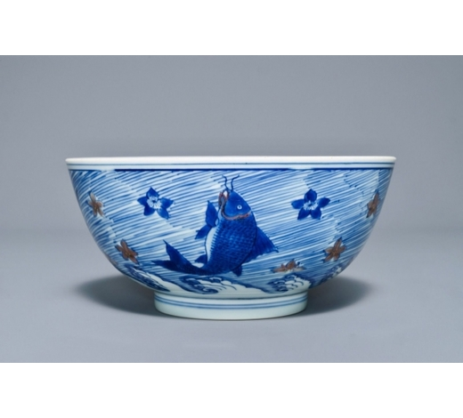 Rob Michiels AuctionsA rare Chinese blue and underglaze red bowl with carps and marine animals, Xuande mark, Kangxi