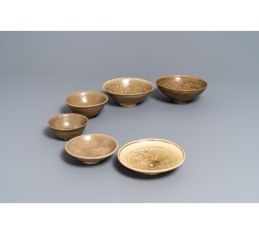 Rob Michiels AuctionsSix Chinese Yaozhou and celadon bowls, Song/Yuan