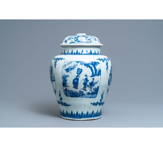 Rob Michiels AuctionsA Chinese blue and white vase and cover with figurative panels, Transitional period