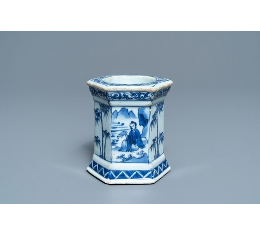 Rob Michiels AuctionsA Chinese blue and white salt after a European silver model, Transitional period