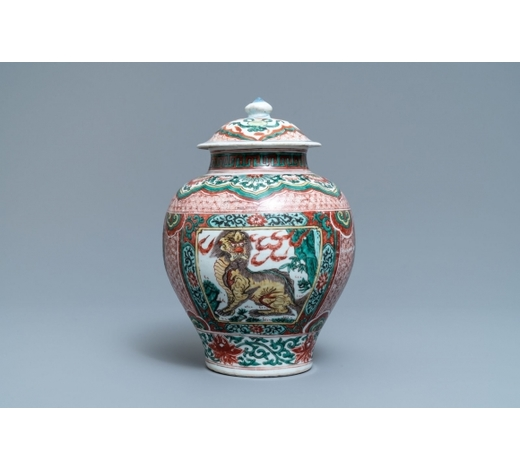 Rob Michiels AuctionsA Chinese wucai 'mythical beasts' vase and cover, Transitional period