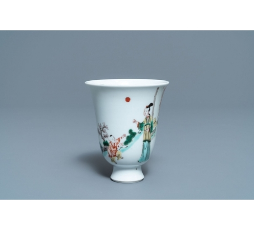 Rob Michiels AuctionsA fine Chinese famille verte bell-shaped wine cup, Kangxi