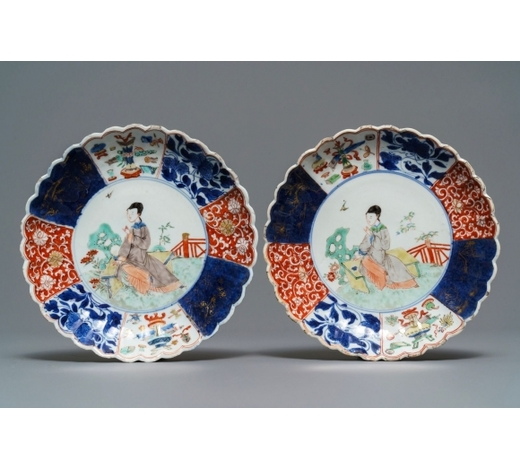 Rob Michiels AuctionsA pair of Chinese verte-Imari plates with a lady in a garden, Kangxi