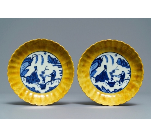 Rob Michiels AuctionsA pair of lobed Chinese blue and white yellow edge plates, 'hare' mark, Wanli