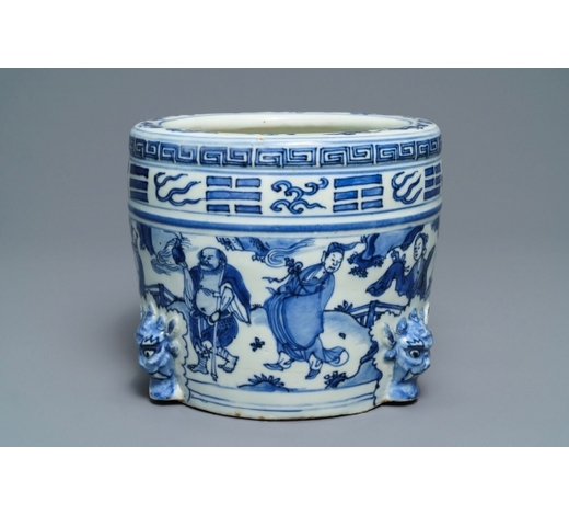 Rob Michiels AuctionsA large Chinese blue and white '8 immortals' censer, Wanli
