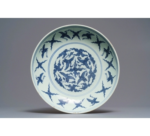 Rob Michiels AuctionsA Chinese blue and white charger with cranes, 'fui gui chang ming' mark, Jiajing