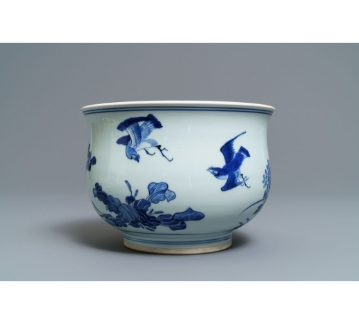 Rob Michiels AuctionsA large Chinese blue and white censer with birds among blossoms, Transitional period