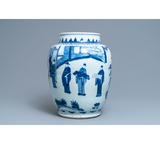 Rob Michiels AuctionsA large Chinese blue and white vase with figurative design, Transitional period