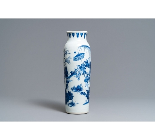 Rob Michiels AuctionsA Chinese blue and white sleeve vase with figural design all-round, Transitional period