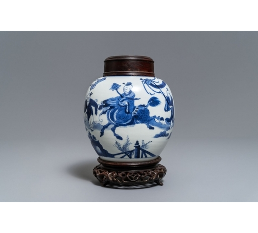 Rob Michiels AuctionsA blue and white Chinese ginger jar with playing boys, Kangxi