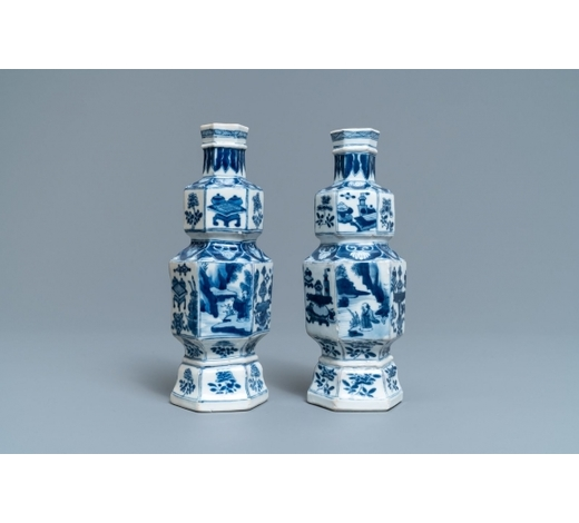 Rob Michiels AuctionsA pair of hexagonal Chinese blue and white vases, Kangxi
