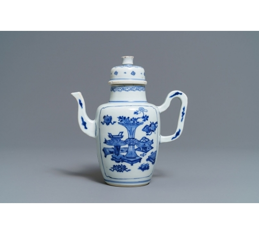Rob Michiels AuctionsA Chinese blue and white wine jug and cover with antiquities, Kangxi