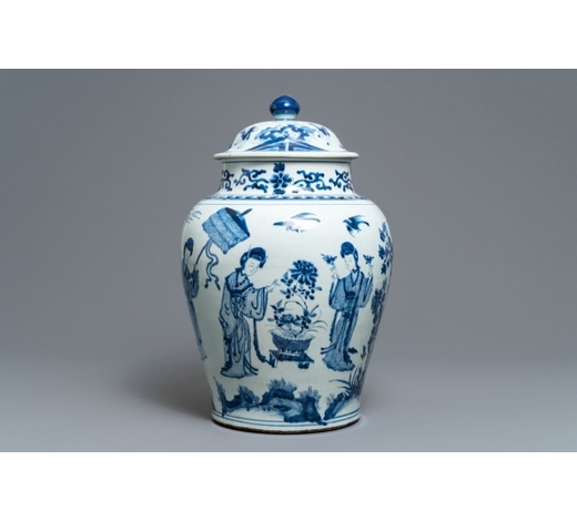 Rob Michiels AuctionsA large Chinese blue and white vase and cover, Kangxi