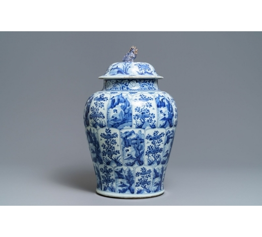 Rob Michiels AuctionsA large Chinese blue and white 'landscape' vase and cover, Kangxi
