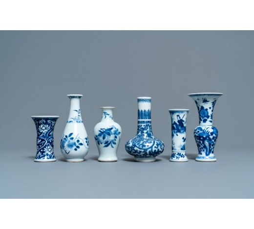 Rob Michiels AuctionsSix small Chinese blue and white vases, Kangxi